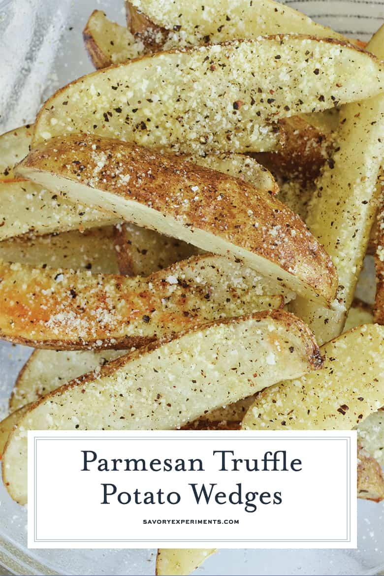 close up of parmesan truffle fry for pinterest