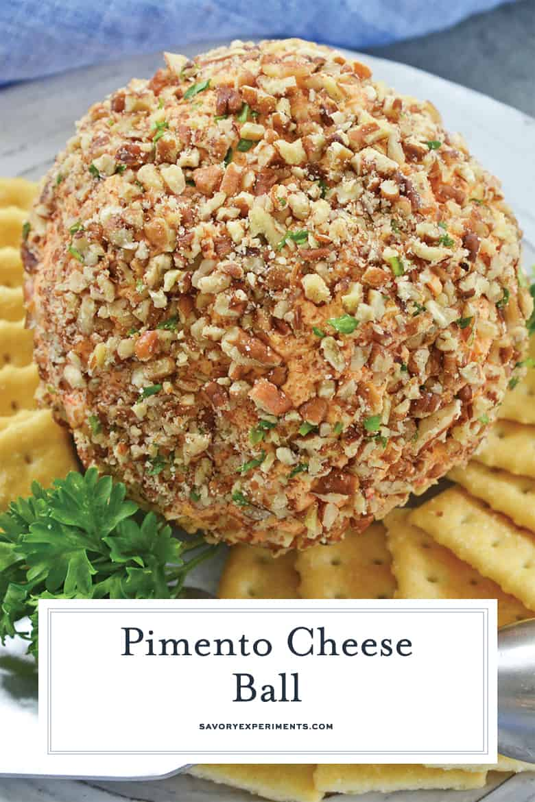 close up of pimento cheese ball for pinterest