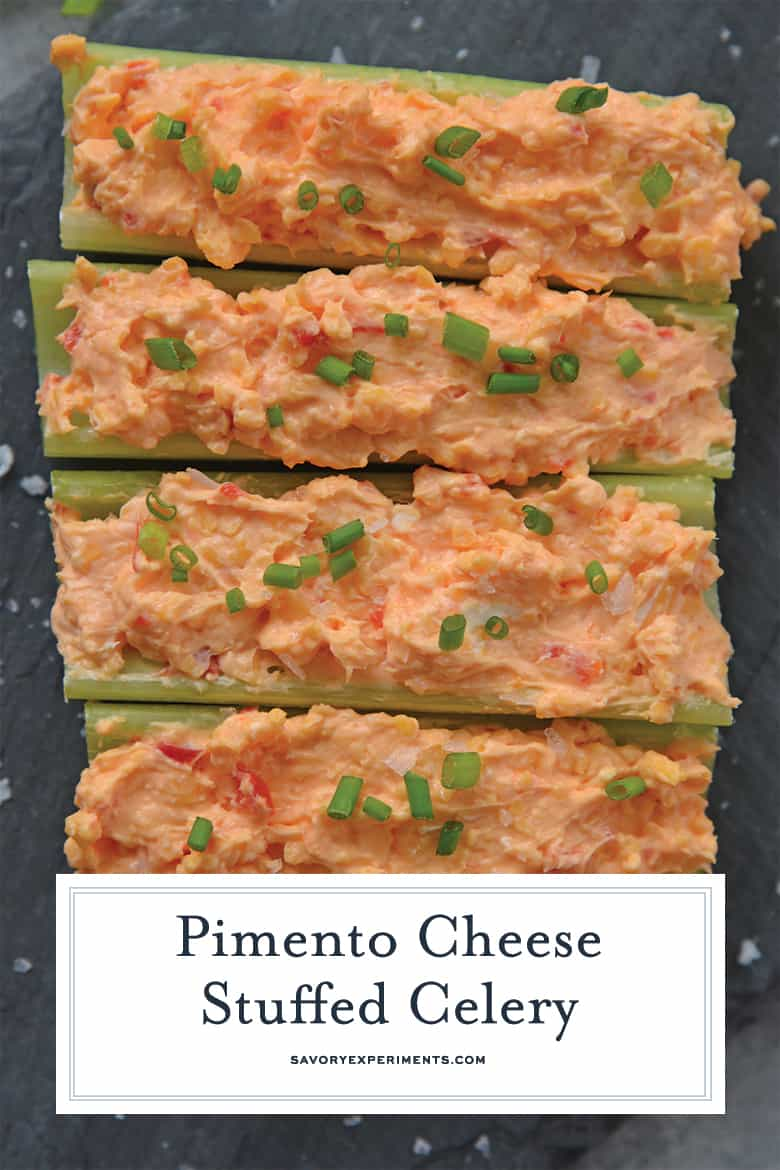 close up of pimento cheese stuffed celery