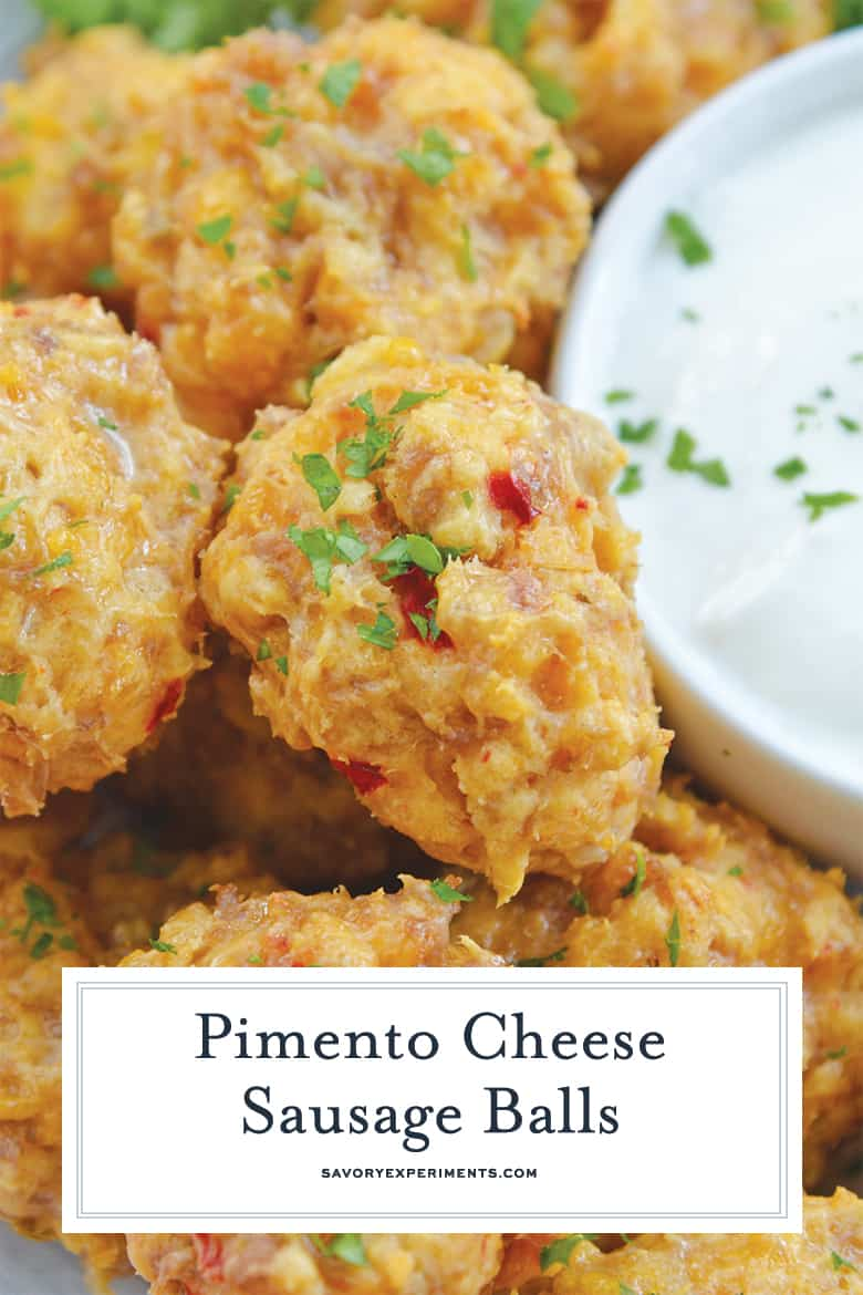 close up of pimento cheese sausage balls for pinterest