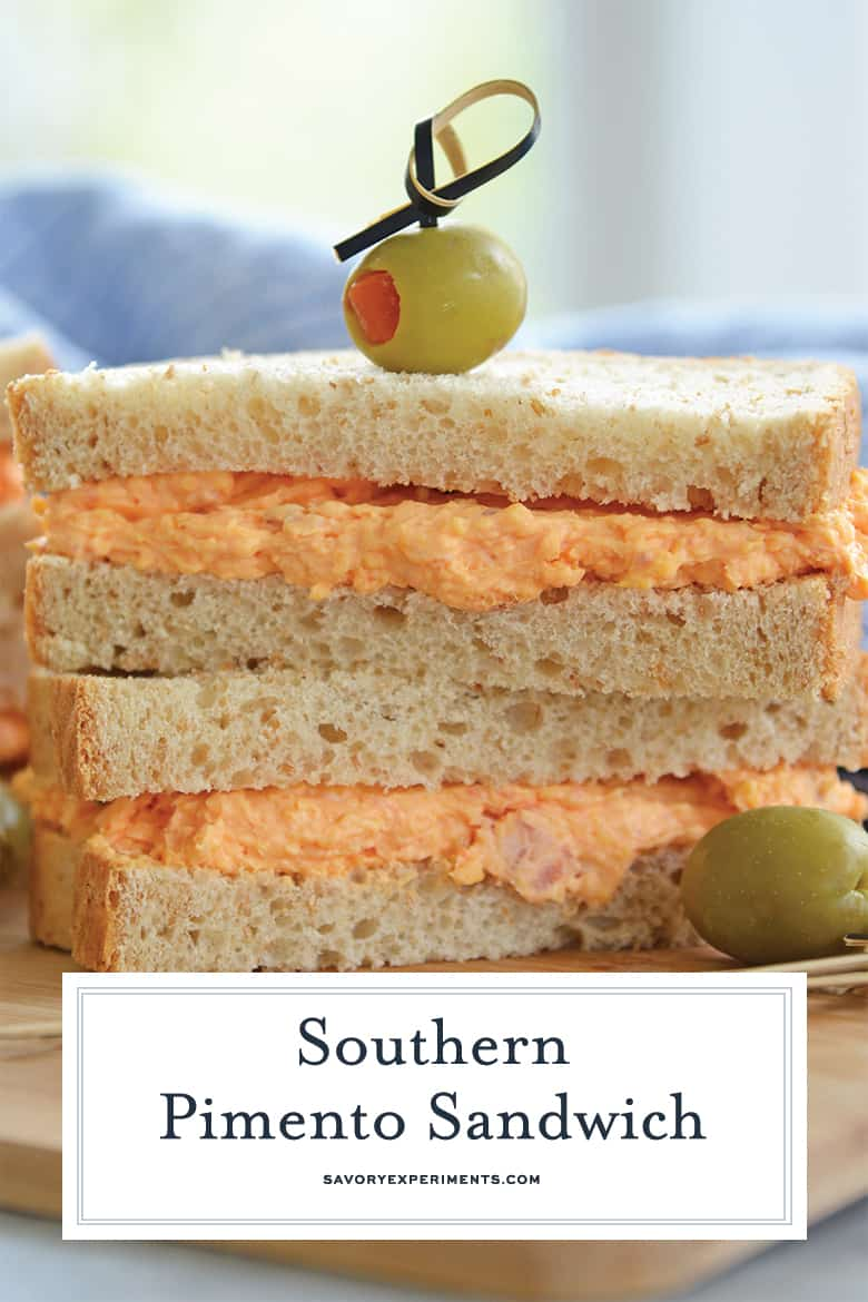 close up of pimento cheese sandwich