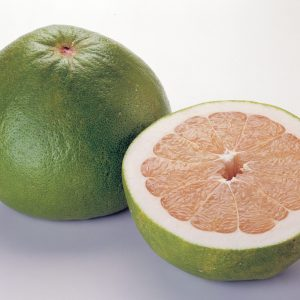 pomelo fruit cut in half
