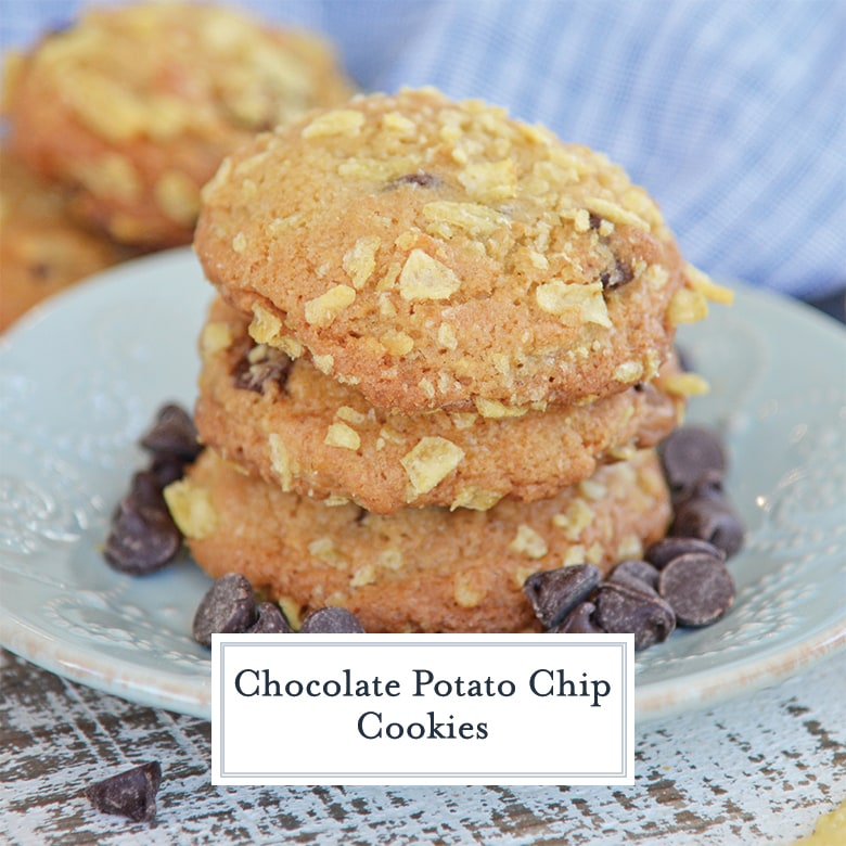 stack of 3 potato chip cookies with chocolate chips on a blue plate