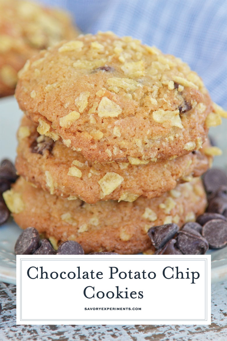 close up of potato chip cookies for pinterest