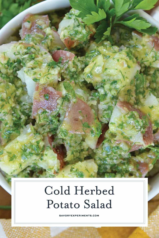 close up of herb potato salad for pinterest