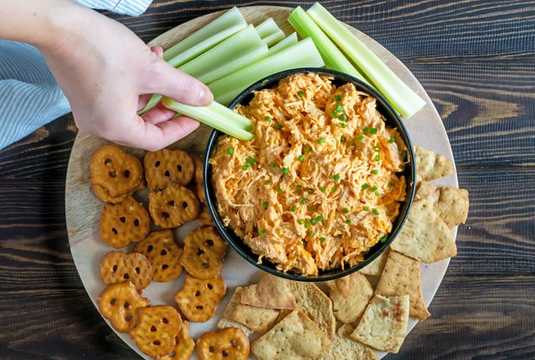 buffalo chicken dip on serving platter
