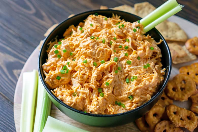 black bowl of buffalo chicken dip
