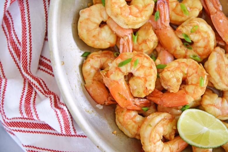 soy lime shrimp in a skillet