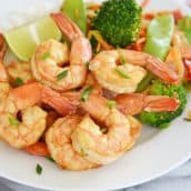 close up of soy lime shrimp with vegetables