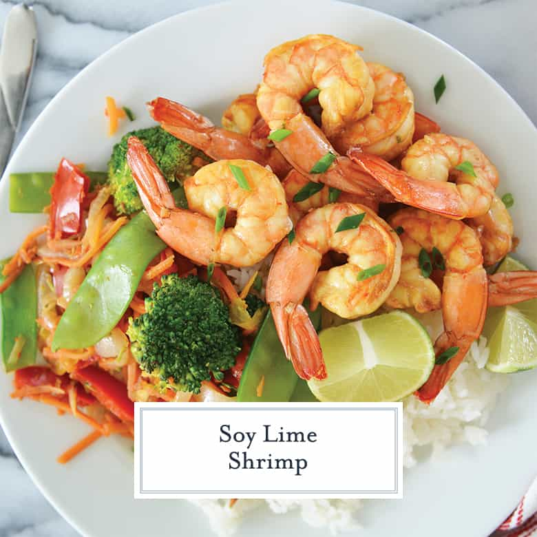 soy lime shrimp with veggies and rice