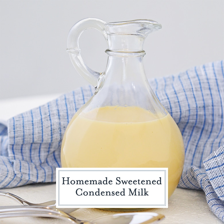 sweetened condensed milk in a glass jar