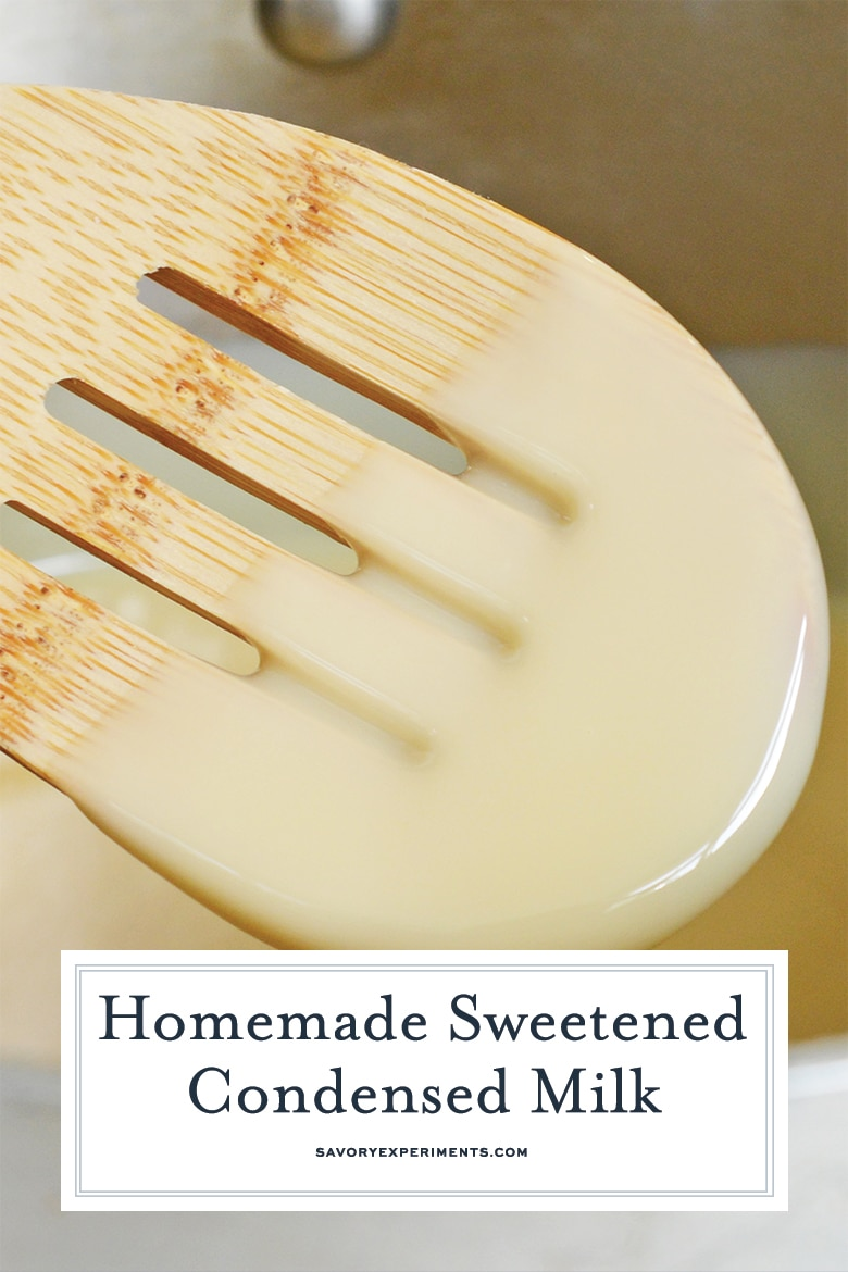 sweetened condensed milk dripping off a wooden spoon