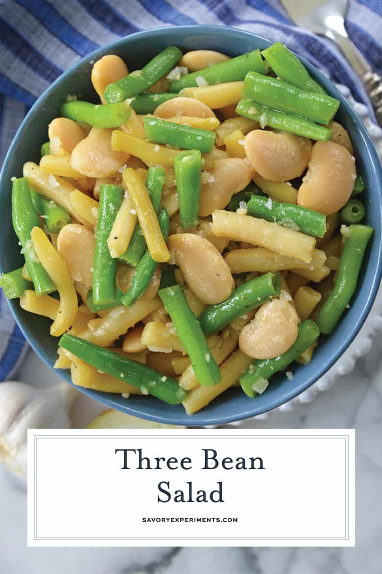 close up of three bean salad for pinterest