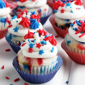 A close up of 4th of july cupcakes