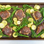 coverhead of sheet pan chicken thighs in the oven