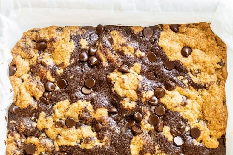 brownie + cookie bars in 9x13 pan