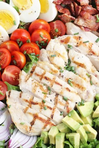 close up of sliced chicken on cobb salad
