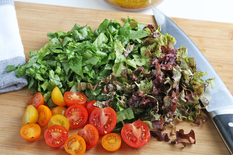 chopped lettuce and tomatoes