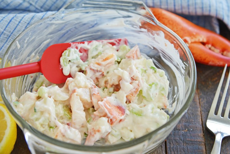 lobster salad in a glass mixing bowl