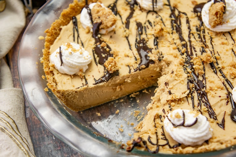 easy peanut butter pie with a slice missing
