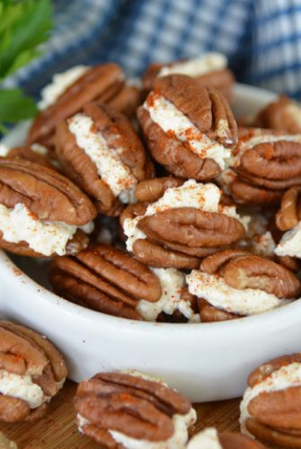 bowl of gouda stuffed pecans