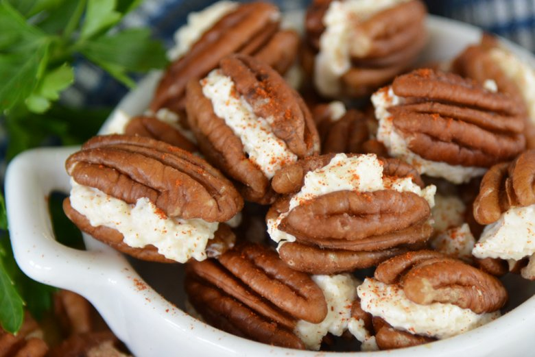 close up of stuffed pecans