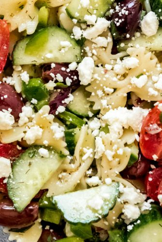close up of Greek pasta salad