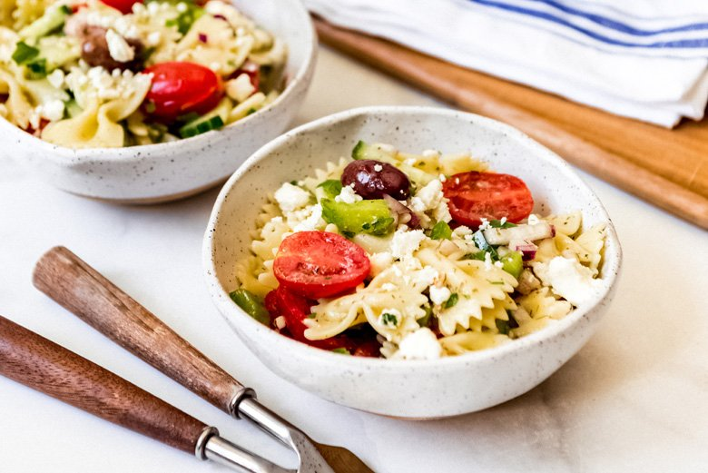 Greek pasta salad in an individual serving bowl