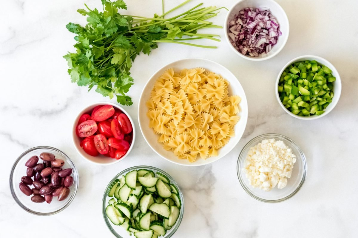 ingredients for Greek pasta salad