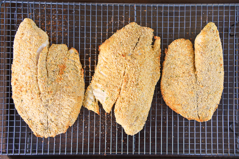 cooked tilapia fillets with parmesan breading