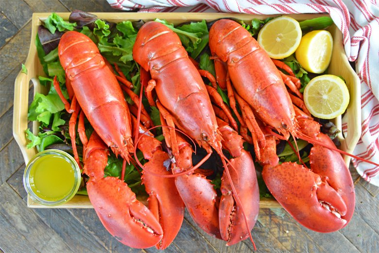 tray of steamed lobsters