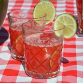 two glasses of watermelon juice