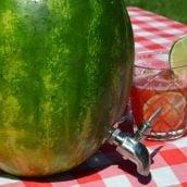 Watermelon keg on a picnic table