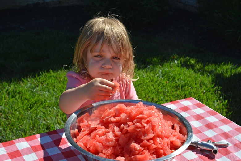 A little girl sitting at a table with a plate of food, with Watermelon and Keg