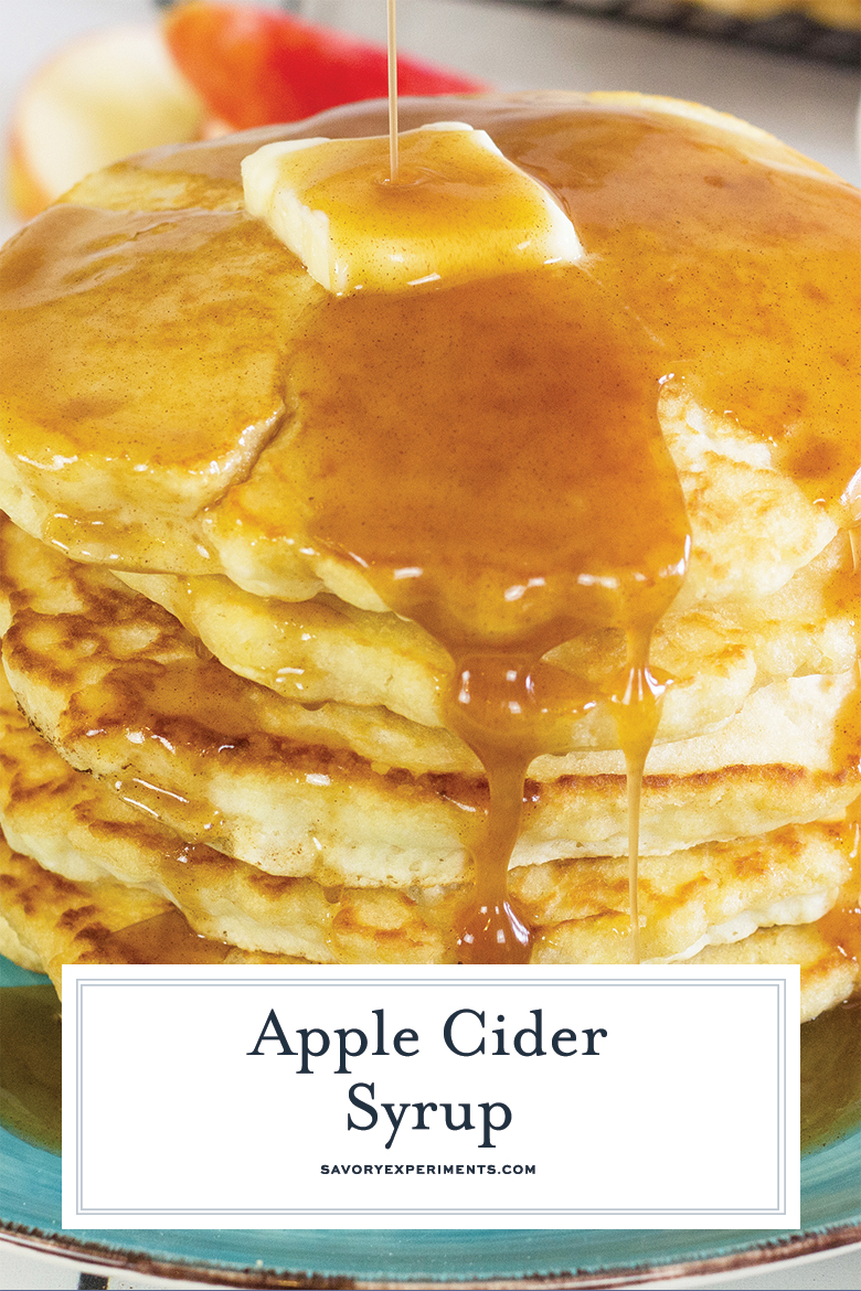 close up of apple cider pancakes for pinterest