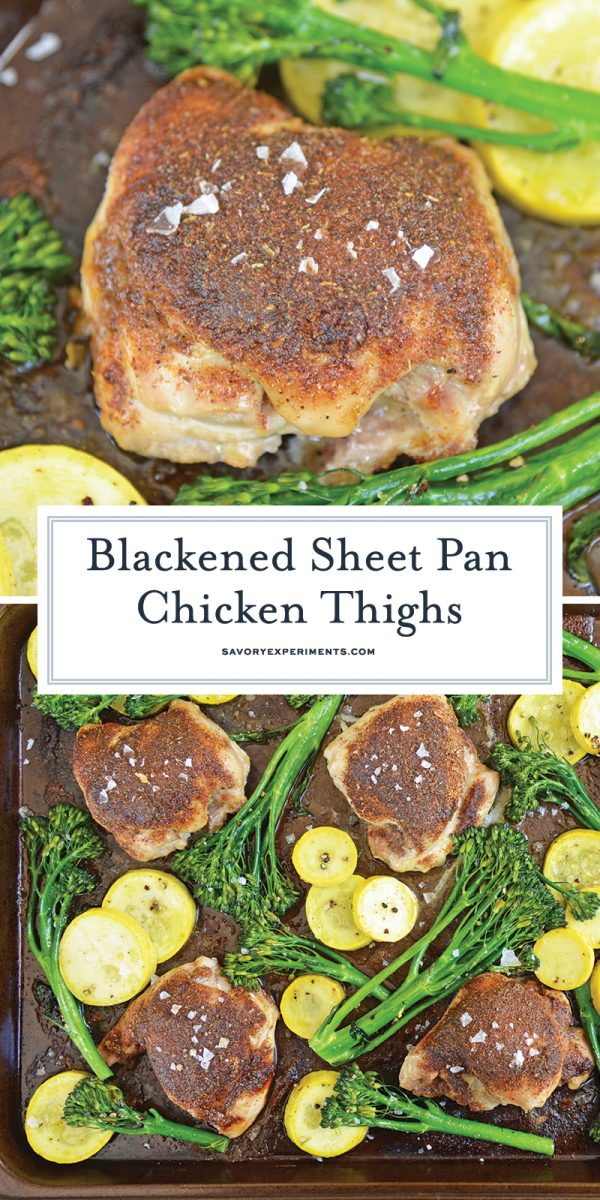blackened sheet pan chicken thighs for Pinterest