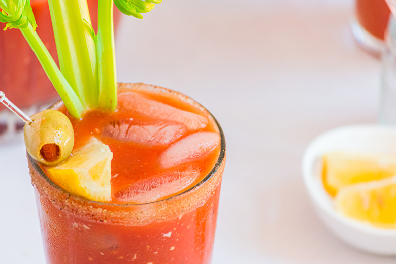 angle view of bloody mary in a pint glass