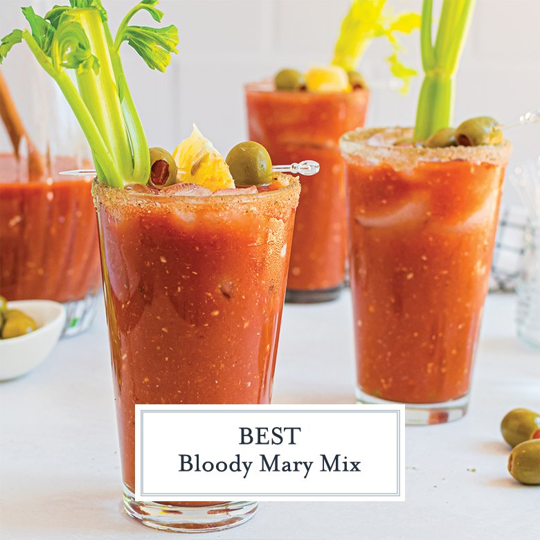 horseradish bloody marys with celery and olives