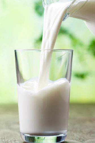 A close up of a glass of milk