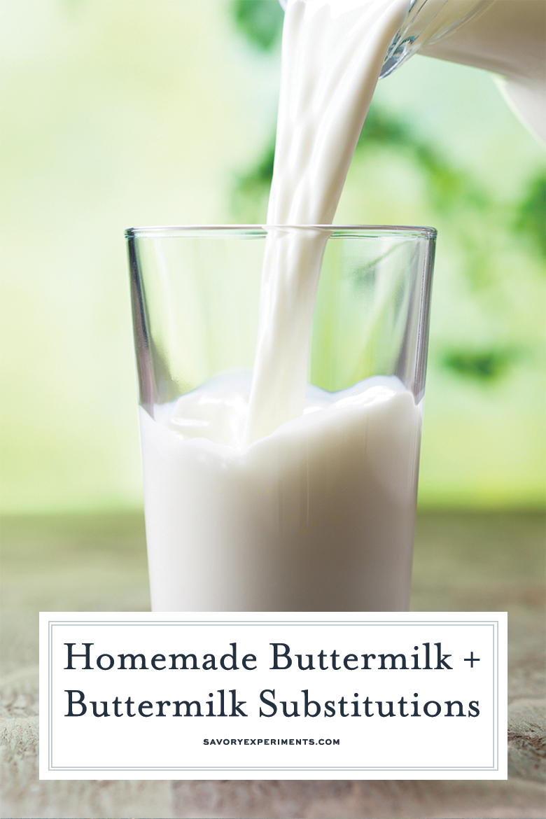 homemade buttermilk pouring into a glass