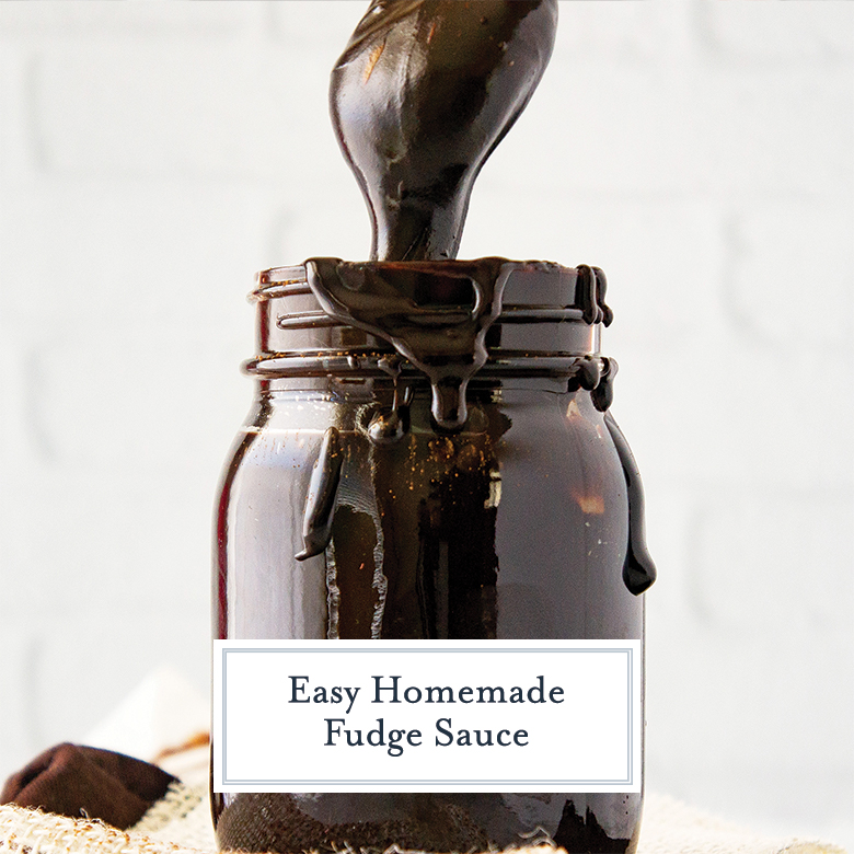 homemade fudge sauce dropping off a spoon into a mason jar