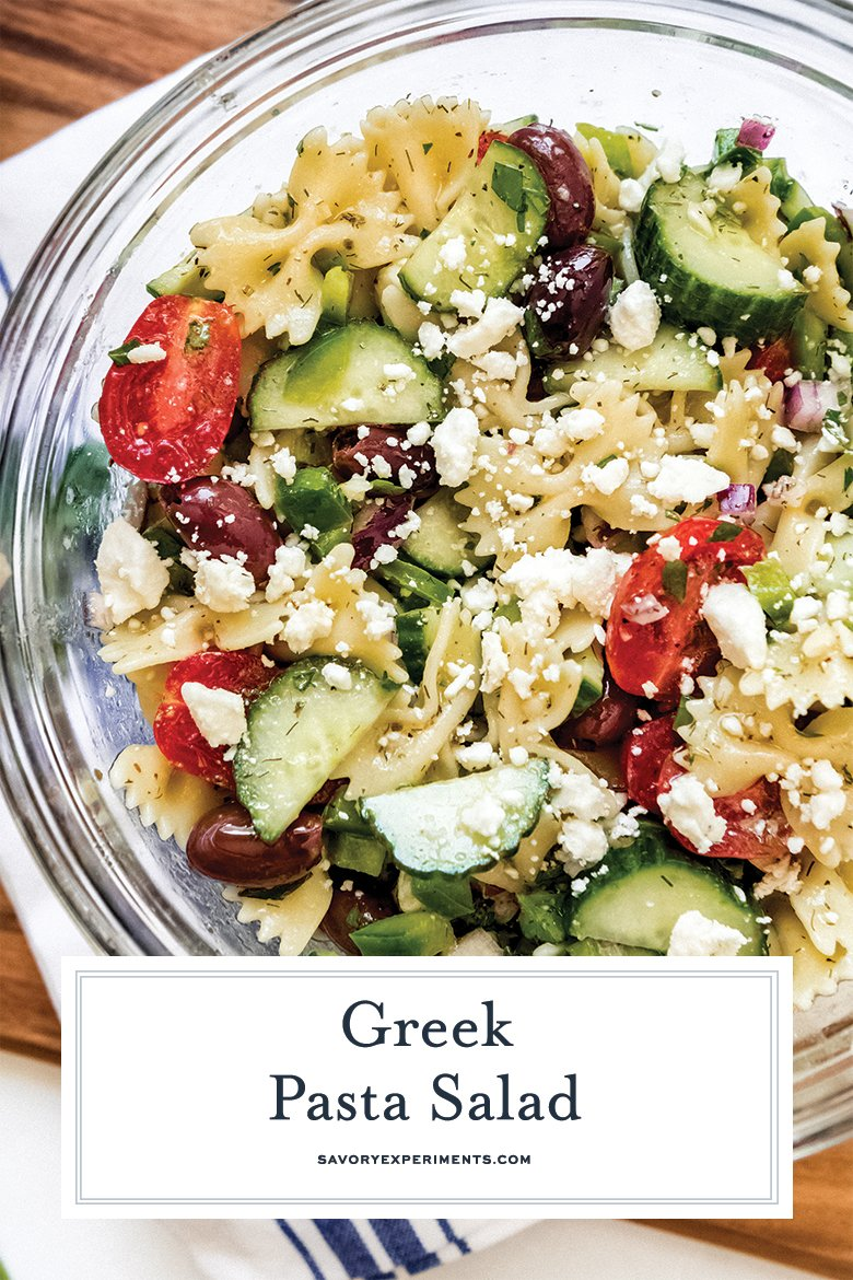 Close up of Greek pasta salad for Pinterest