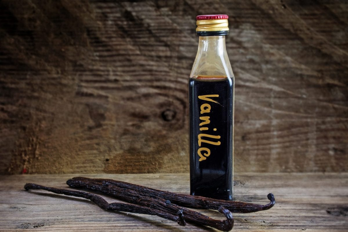 glass bottle of homemade vanilla