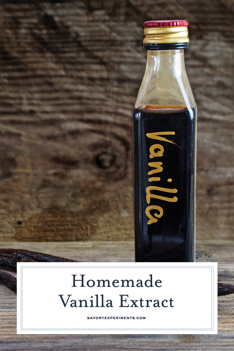 homemade vanilla extract in a glass bottle