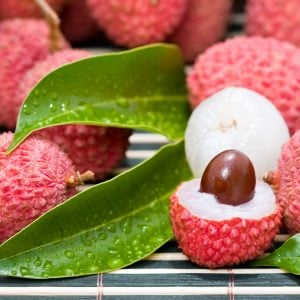 halved lychee fruit