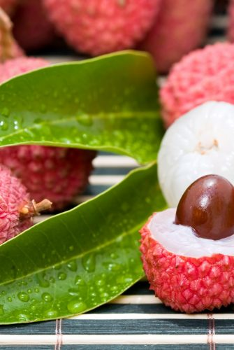halved lychee fruit