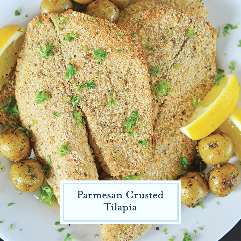 close up of parmesan crusted tilapia with lemon and baby potatoes