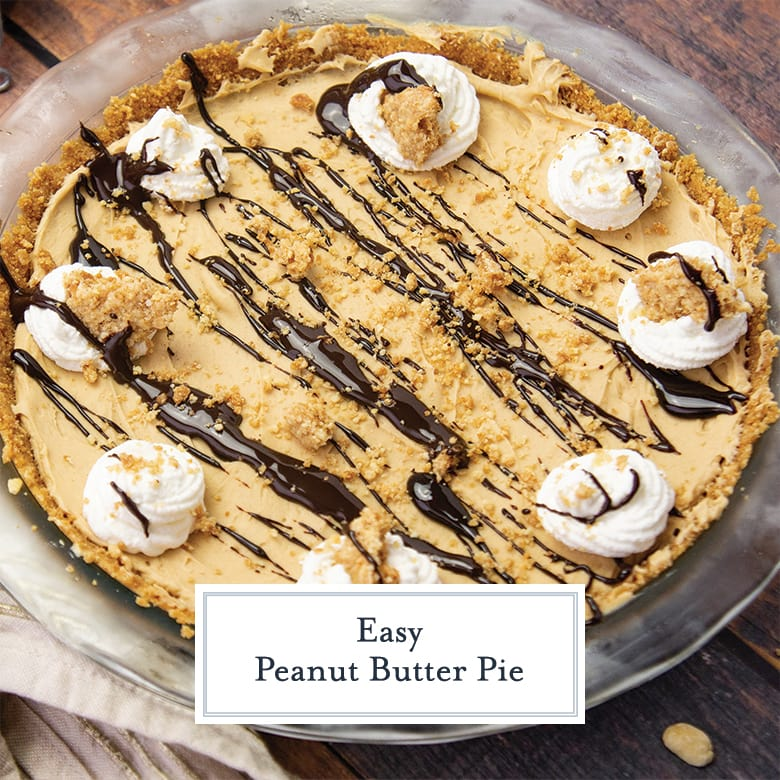 overhead of no bake peanut butter pie