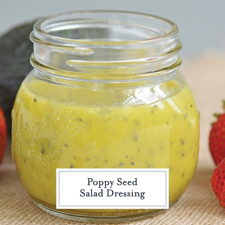 close up of poppy seed dressing in a mason jar