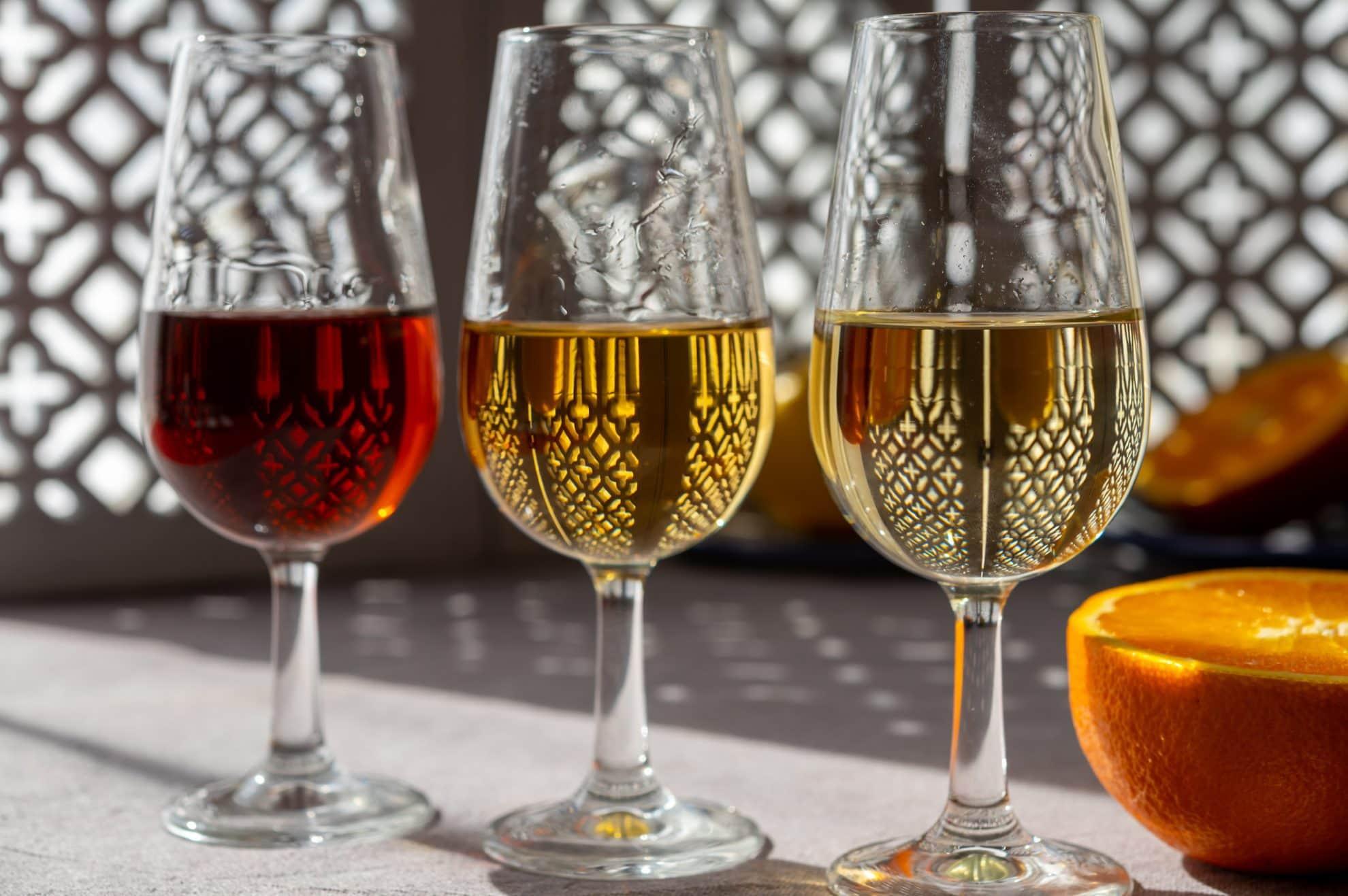 three glasses of sherry wine